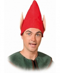 Красный колпак эльфа с ушами