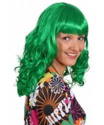 Зеленый парик с челкой