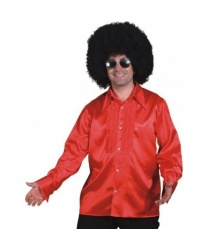Красная мужская рубашка с рюшами