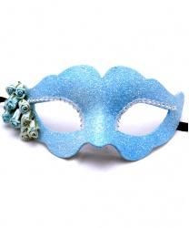 Голубая блестящая маска с цветком Fiore