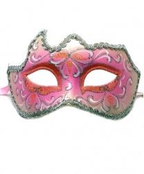 Светло-розовая маска с серебряной тесьмой