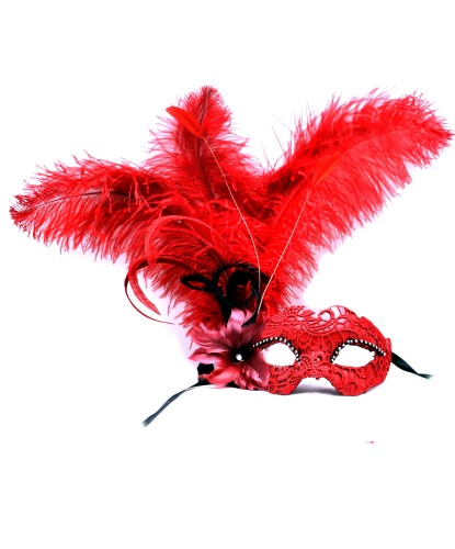 Красная венецианская маска с перьями сбоку, кружево, стразы, папье-маше, перья (Италия)