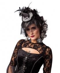 Мини-колпак ведьмы с вуалью-паутиной