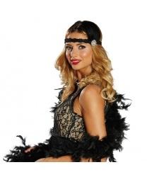Кружевная черная повязка с перьями
