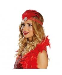 Кружевная красная повязка с перьями