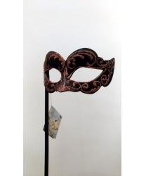 Черная маска на палочке с бронзовым узором