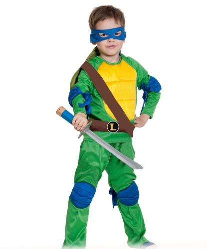 Костюм черепашки Леонардо: куртка, брюки, маска, налокотники, панцирь, наколенники, меч (Россия)