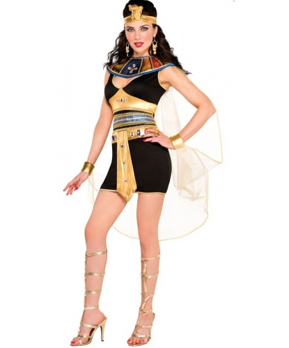 Взрослый костюм египтянки: платье, воротник, повязка на голову, прозрачная накидка (Германия)