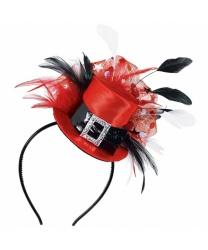 Красная мини шляпка на обруче