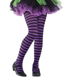 Детские колготки в фиолетовую и черную полоску