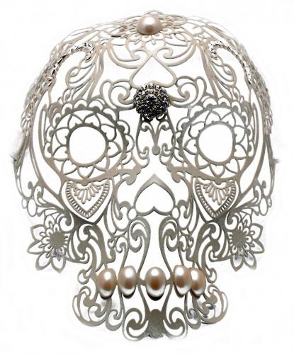 Белая ажурная маска Череп, стразы, металл (Италия)