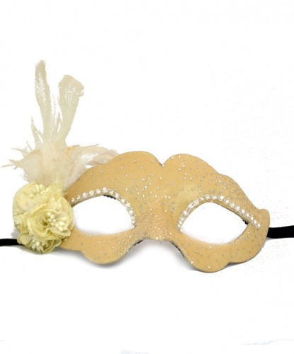Бежевая маска с блестками Colombina Fiore, ткань, папье-маше, перья (Италия)