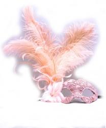 Венецианская розовая маска с перьями