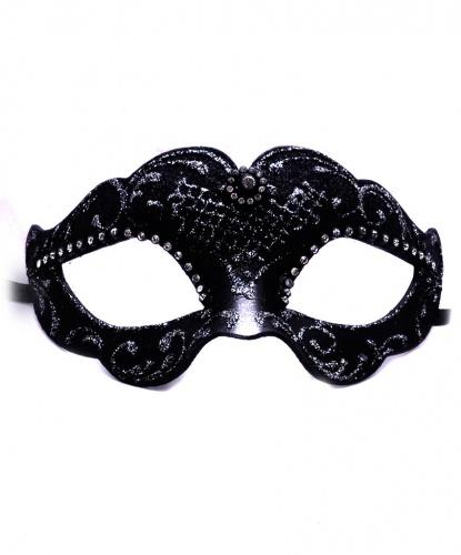 Черная венецианская маска с блестящими узорами, папье-маше, стразы