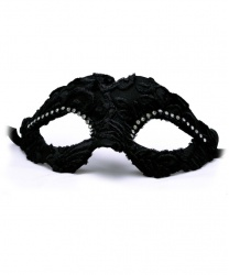 Черная венецианская маска с вуалью бархатным узором, папье-маше, ткань, стразы (Италия)