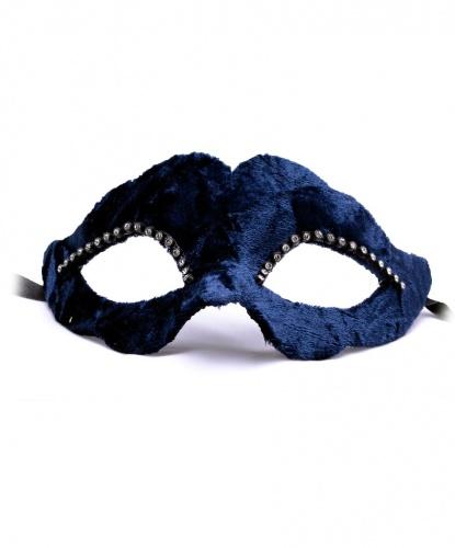 Темно-синяя бархатная маска, папье-маше, ткань, стразы (Италия)