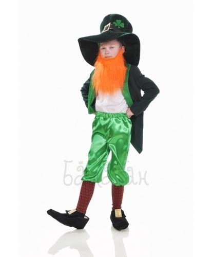 Детский костюм лепрекона с бородой:  шляпа, борода, фрак,бриджи с гетрами, имитация обуви (Украина)