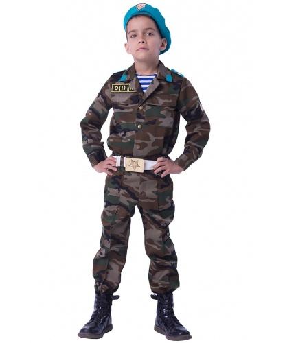 Детский костюм Десантник: рубашка, брюки, майка-тельняшка, берет, ремень  (Россия)