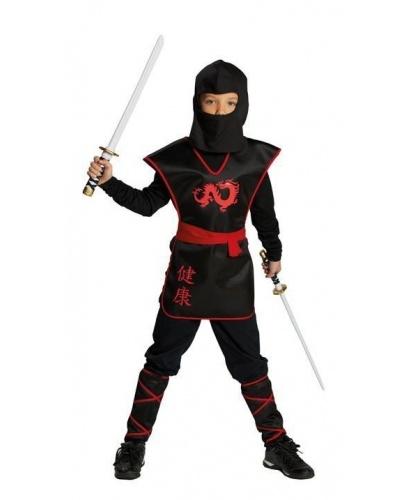 Детский костюм воина-ниндзи: жилетка, балаклава, гамаши, пояс (Германия)