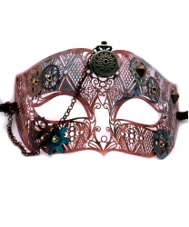 Венецианская маска Steampunk с часами(розовая)