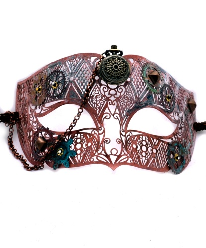 Венецианская маска Steampunk с часами(розовая), металл (Италия)