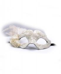 Белая маска с кружевом и перьями Colombina Fiore
