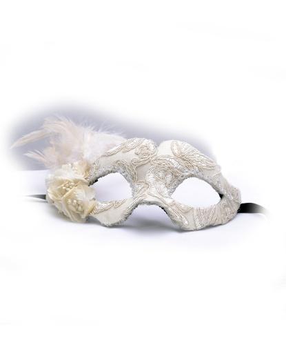 Белая маска с кружевом и перьями Colombina Fiore, стразы, ткань, папье-маше, перья (Италия)