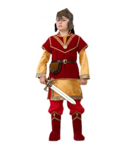 Детский костюм богатыря Добрыня: рубашка, брюки с накладками на обувь, жилет, пояс с калитой, шлем, меч (Россия)
