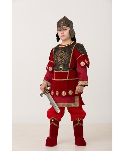 Детский костюм богатыря Добрыня в доспехах: рубашка, брюки, жилет, шлем, меч (Россия)