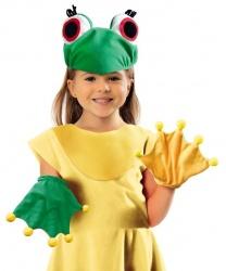 Шапка и перчатки лягушки