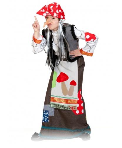 Костюм Бабы Яги: юбка с передником, рубашка, жилетка, косынка, нос, ободок с волосами (Россия)