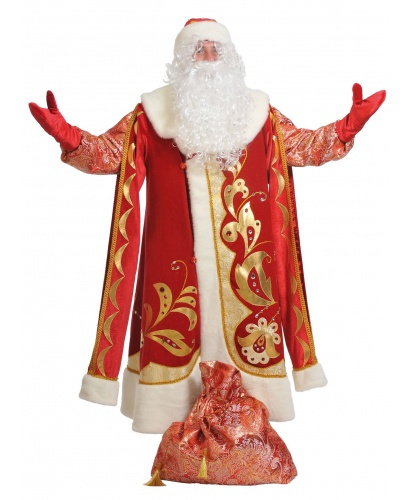 Костюм Деда Мороза Хохлома (Delux): шуба на подкладе, шапка, варежки, борода, мешок (Россия)