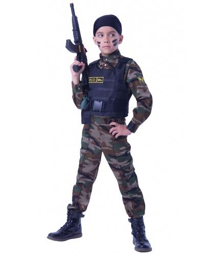 Детский костюм для мальчика Спецназ: рубашка, брюки, бронежилет, бандана, граната (Россия)