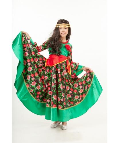 Детский костюм Цыганка: платье, парик, косынка, повязка с монистами (Россия)