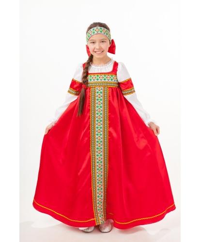 Русский народный костюм для девочки Марьюшка: сарафан, повязка на голову (Россия)