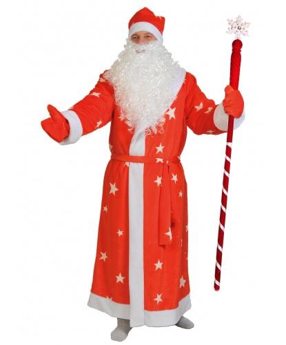 Новогодний костюм Деда Мороза: шуба, шапка, варежки, мешок, борода, пояс (Россия)