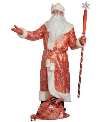 Костюм Деда Мороза: шуба, шапка, варежки, мешок, борода, пояс (Россия)