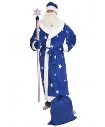 Костюм Деда Мороза (синий плюш): шуба, шапка, варежки, мешок, борода, пояс (Россия)