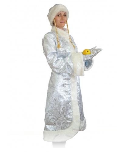 Новогодний костюм снегурочки: варежки, головной убор, шуба (Россия)