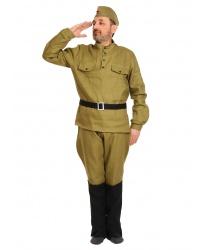 Взрослый костюм солдата: пилотка, гимнастёрка, ремень, галифе с сапогами (Россия)