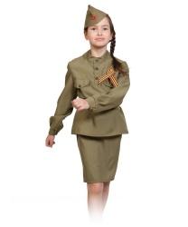 Женский костюм военной: юбка, гимнастерка, пилотка, ремень, георгиевская ленточка (Россия)