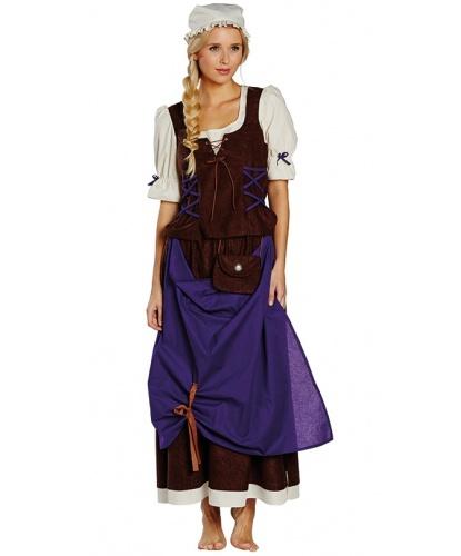 Костюм средневековой деревенской девушки: юбка, блузка, чепец (Германия)