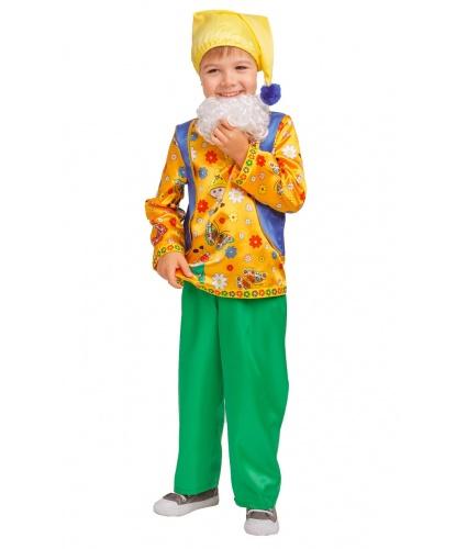 Карнавальный костюм Гном Кузьма : рубашка, брюки, борода, колпак (Россия)