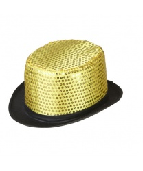 Золотой цилиндр с блестками