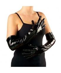 Черные блестящие, виниловые перчатки