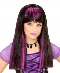 Парик черный с фиолетовыми прядками (детский)