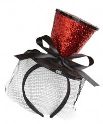 Красная, блестящая мини-шляпка