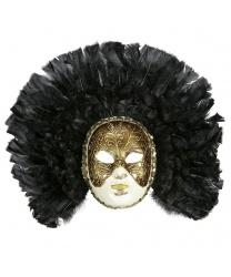 Классическая венецианская маска с черными перьями