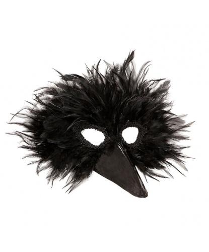 Маска черной птицы, пластик, перья (Италия)