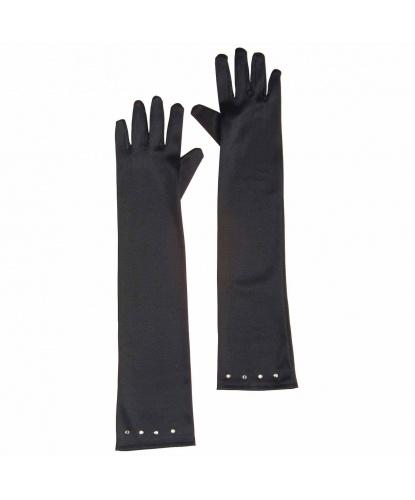 Черные перчатки со стразами (детские) (Италия)